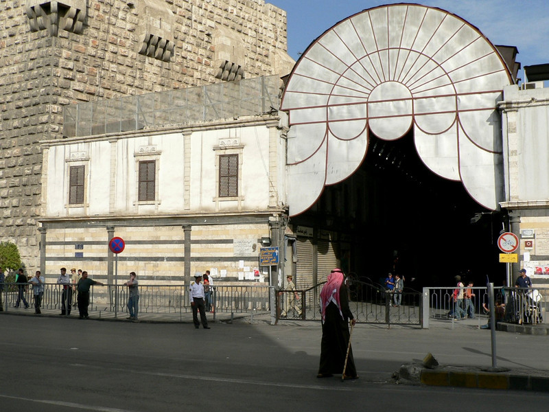 Modern entrance to the souq next to 11th century walls
