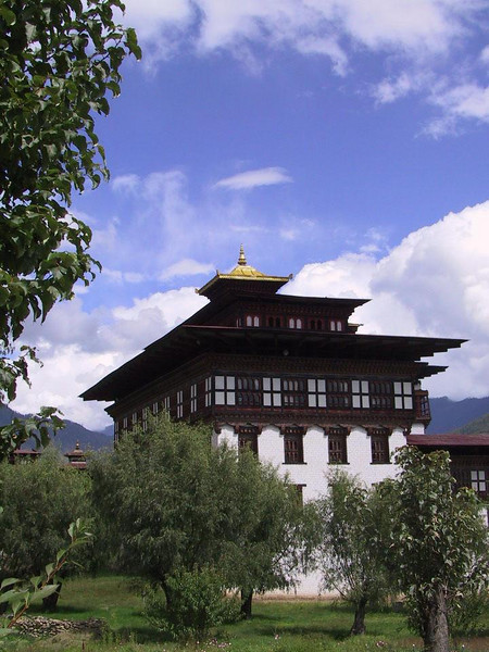 Approaching Thimpu's dzong for the last day of the festival