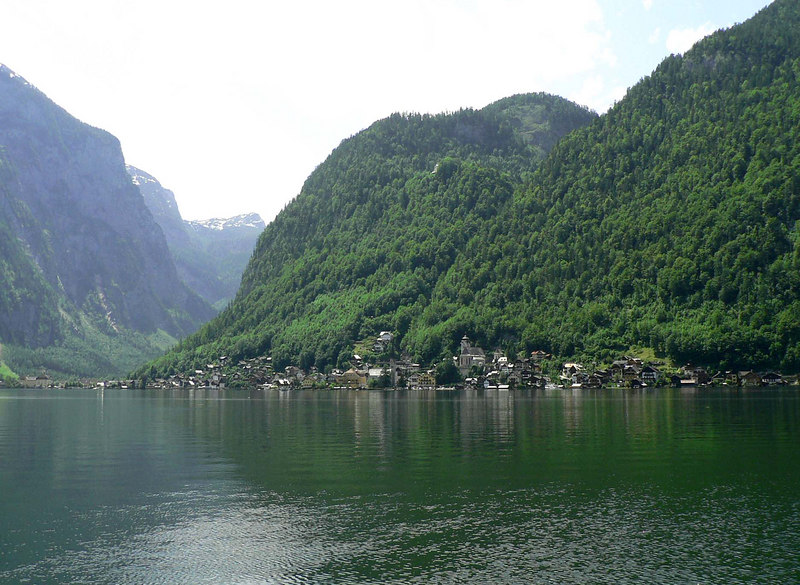 Crossing the lake to Hallstatt, Austria