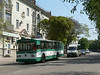 Transport in Sevastopol - public, tram, in front; privately owned, marshrutky (shared minibus), behind
